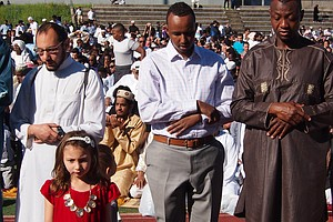 Muslims from the Greater Boston area gathered at Madison Park High School in Roxbury to pray during the Eid al-Fitr observance marking the end of the holy month of Ramadan.