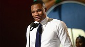 NBA player Russell Westbrook accepts the Kia NBA Most Valuable Player award onstage during the 2017 NBA Awards Live on TNT on June 26, 2017 in New York, New York. Kevin Mazur/Getty Images