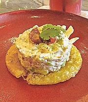 Creamy Crab and Avocado on a Yucca Torta at Points South Latin Kitchen.