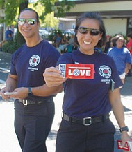 Portland Fire and Rescue personnel bring a message of love.
