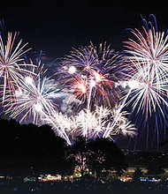 Independence Day at Fort Vancouver lights up the skies over the Columbia River.
