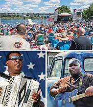 """Thousands of music fans will once again  return to Waterfront Park in downtown Portland over the long July 4th weekend for the annual Safeway Waterfront Blues Festival, a major fundraiser to fight hunger in Oregon and southwest Washington.  (left) Bluesman Chubby Carrier mixes traditional accordion music and washboard sounds with dashes of '70s funk and the spices of classic R&B for swampy twists on classic songs. Carrier and his Bayou Swamp Band will be the house band for the Safeway Waterfront Blues Festival's Cajun-Zydeco dances on the festival's Front Porch Stage.  (right) Christone """"Kingfish"""" Ingram, a young Mississippi bluesman and powerhouse guitar player will be making his third visit to the Safeway Waterfront Blues Festival, highlighting a 4th of July weekend festival for the Oregon Food Bank that will run five days and feature 120 blues acts on four stages."""