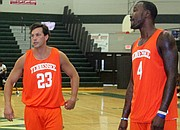 The alumni Vols featured Wayne Chism (right) and Dane Bradshaw, who played high school basketball at White Station.  (All photos: Terry Davis)