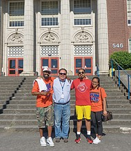 Supporters of Benson High School rally to save sports programs from budget cuts. The group was led by former Benson coach and graduate John Slaughter (pictured from left) and Rob Johns, president of the Benson High Alumni Association.