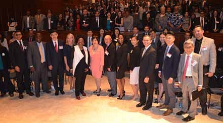 Attendees and speakers gather for a group photo during the 2017 National AAPI Business