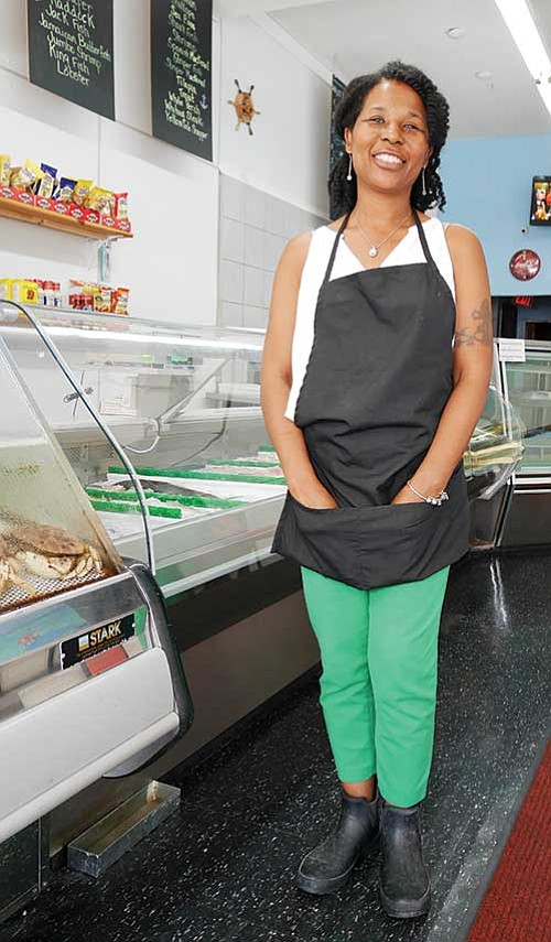 Dorchester native Cassandra Morgan opened Dudley's Seafood Market last September at 744 Dudley St. The market offers a variety of whole fish for sale, ready to be cleaned and cut to order.