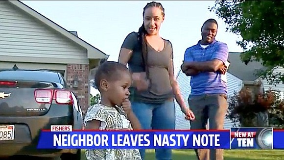 A family in Fishers, Indiana would like to know who left a nasty note in their mailbox.