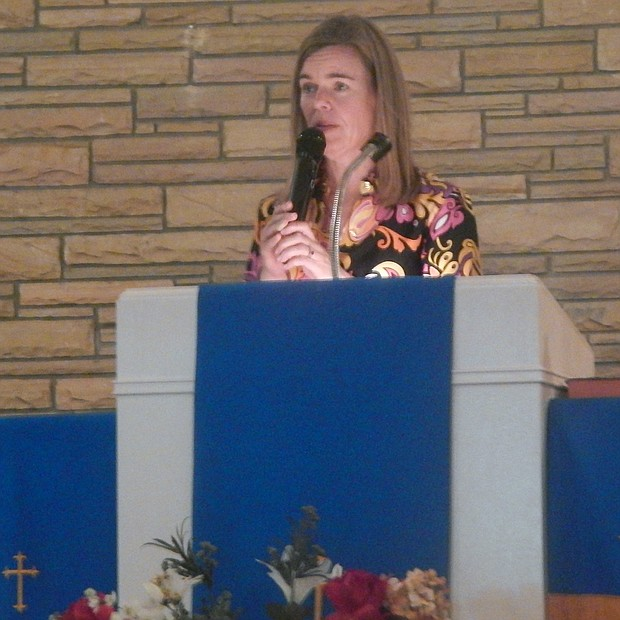 Shelby County D.A. Amy Weirich speaks at Solutions Sunday in Frayser. (Photo: Dalisia Brye)