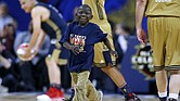 New Orleans Saints Super Fan Jarrius 'Little JJ' Robertson celebrates after scoring during the NBA All-Star Celebrity Game at the Mercedes-Benz Superdome on February 17, 2017 in New Orleans, Louisiana. (Photo: Jonathan Bachman/Getty Images via The Undefeated)