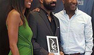 L to R. Nicole Friday, Devin Haqq, and Jeff Friday, Founder and CEO of American Black Film Festival Ventures.