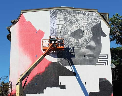 The temporary mural, up until October 2018, is being created in partnership with the women of the McGrath House, a ...