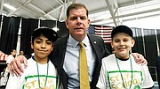Mayor Martin Walsh greets students at the Boston Public Schools for the 26th Annual Stay in School event at the Reggie Lewis Center earlier this year.