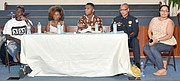"MABJ's public conversation was themed Bridge Protest: One Year Later. Moderated by former television anchor Kelli Cook (not pictured), the panel featured (l-r) Keedran ""TNT"" Franklin, Erica Perry, Devante Hill,  Memphis Police Director Michael Rallings and journalist/columnist Wendi C. Thomas.