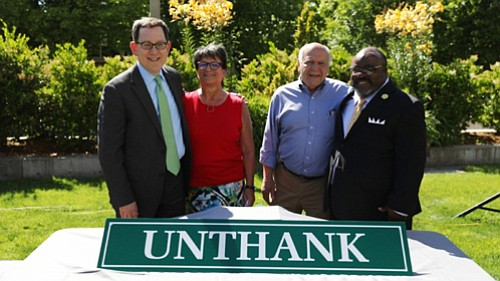 New signs are up week at Unthank Hall, the University of Oregon dormitory renamed because of the Ku Klux Klan ...