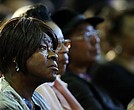 A voter listens to Democratic presidential candidate Hillary Clinton speak in South Carolina a day after her debate with rival candidate Bernie Sanders on Feb. 12, 2016, in Denmark, S.C. (Spencer Platt/Getty Images)