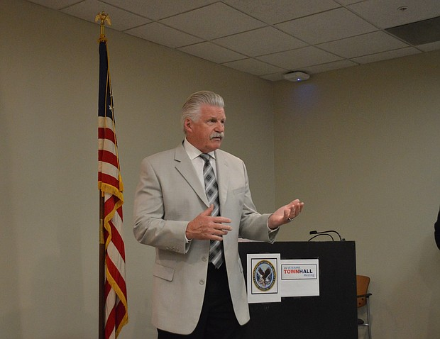 Will County State's Attorney Jim Glasgow unveiled the details of his veteran's computer training program at Hines VA hospital in Joliet this week. (photo by Brock A. Stein)
