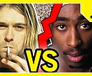 Before their untimely deaths — and honestly, after as well — both Kurt Cobain and Tupac were icons of their respective genres of rock and hip-hop music in the 1990s. A recent Nielsen poll shows that hip-hop is currently the more popular music genre these days. (Screeshot: YouTube)