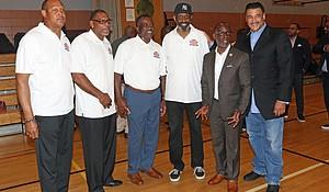 Left to right: Anthony Randolph Sr., Elfrid Payton Sr., Charles Paul, Rod Ivey, Councilman I. Daneek Miller and WBLS's Dr. Bob Lee