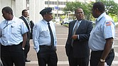 Johnnie Mosley of Citizens For Better Service interacts with MATA workers after a Memphis City Council meeting at City Hall. 