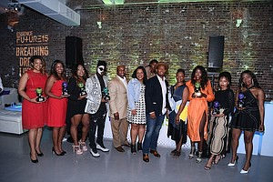 (Left to right): Swivel founders Jihan Thompson and Jennifer Lambert; The Shade Room founder Angie Nwandu; artist Laolu Senbanjo; Essence Midwest Sales Director Paul Johnson, Burrell Senior Media Planner Amina Mance; Toyota Media Planner Lorenzo Harris; Essence Editor-in-Chief Vanessa De Luca; influencer Tanyka Renee Henry; actress Logan Browning; and stylist Ade Samuel. /(Photos, Dave Kotinsky/Getty Images.)