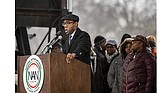 The Rev. Cornell William Brooks, NAACP president and CEO, speaks at the We Shall Not Be Moved Rally in Washington on Jan. 14, 2017.