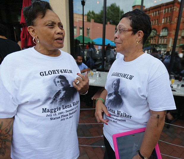 10. Clarice Davis, left, and Fontaine Pate, members of the