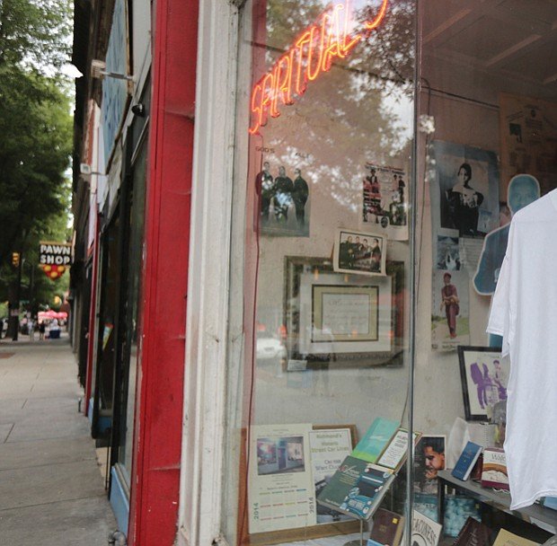 7. A special T-shirt marking the day hangs in the window at Barky's Spiritual Store at 18 E. Broad St.