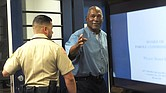 O.J. Simpson (R) reacts after learning he was granted parole at Lovelock Correctional Center (LCC), in Lovelock, Nevada, USA, 20 July 2017. Simpson, 70, is serving a nine to 33 year prison term for a 2007 armed robbery and kidnapping conviction. EPA/JASON BEAN/RENO GAZETTE-JOURNAL / POOL