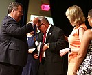 """South Jersey Journal columnist Wilfredo """"Wil"""" Rojas is awarded the Jefferson Medallion by New Jersey Governor Chris Christie, surrounded by his wife, Carmen Marrero-Rojas, Linda Bowden, President PNC Bank New Jersey and Michele Hayes, Director Marketing & Community Affairs, NJ Advance Media."""
