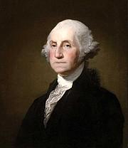 A portrait of George Washington by Gilbert Stuart.