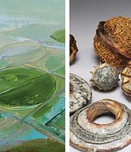 (left) Michael Kurz explores boundaries in a collection of artwork called 'borders.' (right) Shannon Weber's 3D fiber sculpture.