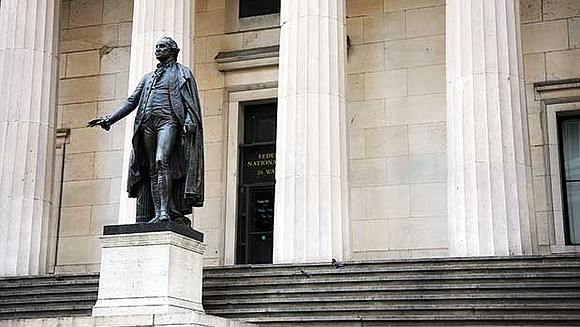 America's unease with its slave-holding past came into sharp relief during a recent encounter in Federal Hall, a Wall Street ...