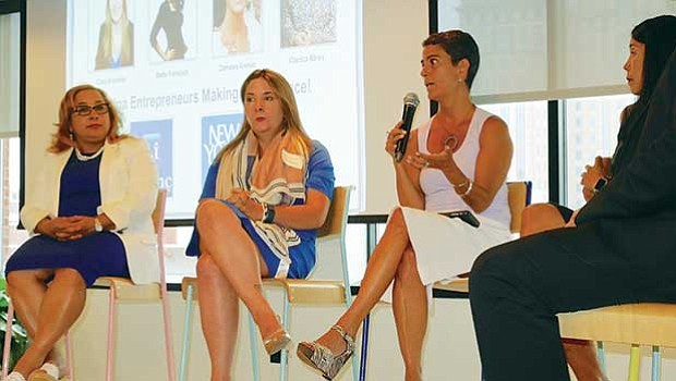 Zamawa Arenas (3rd from left), founder and CEO of Flowetik, participates in a panel discussion at a July 18 forum hosted by LatInc. With her on the panel are (l–r): Claritza Abreu, VP of enterprise technology risk management for State Street Corporation and founder of LatInc; Clara Arroyave, co-founder of PlaceMe; and Betty Francisco, founder of FitNation Ventures and ReImagine Play and co-founder of Latina Circle.