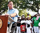 Mayor Martin Walsh offers remarks during the groundbreaking of the Michael L. Bivins basketball courts at Ramsay Park on Washington Street in lower Roxbury.