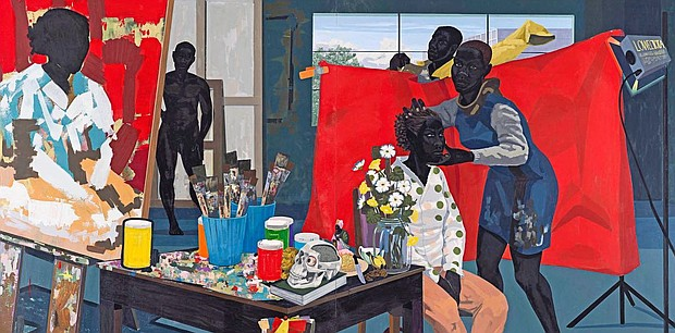 "A detail of the painting ""Untitled (Studio)"" (2014), by Kerry James Marshall"