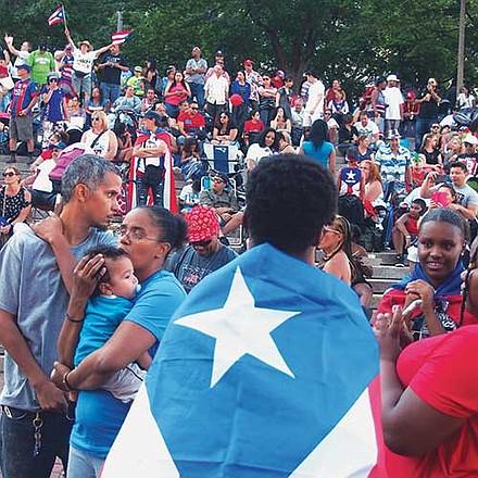 Puerto Rican pride in City Hall Plaza.