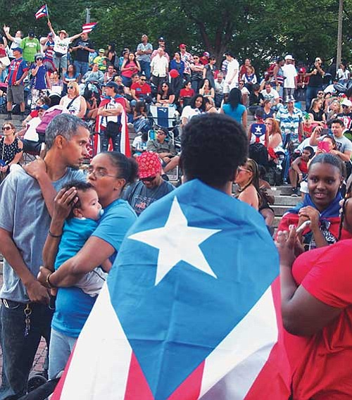 Puerto Rican pride in City Hall Plaza.