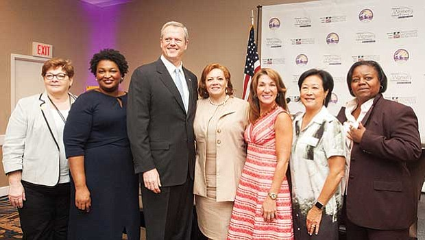 Gov. Charlie Baker and Lt. Governor Polito were special guest speakers at the National Women's Political Caucuses Gubernatorial Brunch Panel. (left-right) Donna Lent, Stacey Abrams, Governor Baker, Gail Jackson-Blount, Lt. Governor Polito, Janet Wu, Marie St. Fleur.