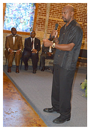 Wilkins lays out the MEMPOWER initiative at Mount Pisgah CME Church in Orange Mound. (Courtesy photo)