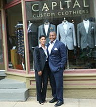 Brett and Angie Hovington, owners of Capital Custom Clothiers make hand-tailored suits, shirts and formal wear. They dress their clients for weddings and other special events while also providing standard tuxedo rentals. The Hovingtons pride themselves on time-tested measuring techniques that allow their clients a customized fit. Capital Custom Clothiers is located in the heart of downtown Annapolis, Maryland at 50 Maryland Avenue.. They also have a location in Occoquan, Virginia at 310 Mill Street, Suite C.