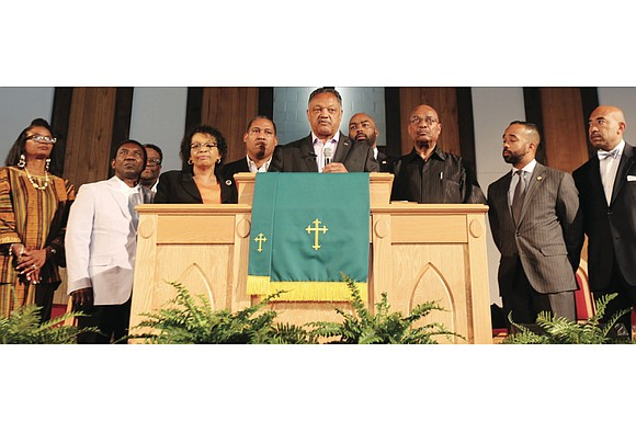 The Rev. Jesse L. Jackson Sr. urged parishioners at Trinity Baptist Church in Richmond to lift the community by voting ...
