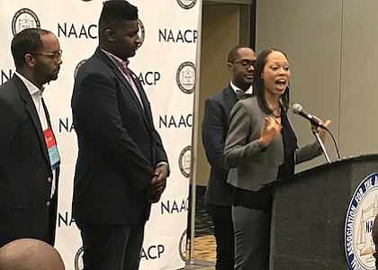 NAACP D.C. branch President Akosua Ali gives remarks during a press conference during the group's 108th national convention in Baltimore, Md. NAACP plans to focus on millennials with the Next Generation Young Professional Leadership Program. (Hamil Harris/NNPA)