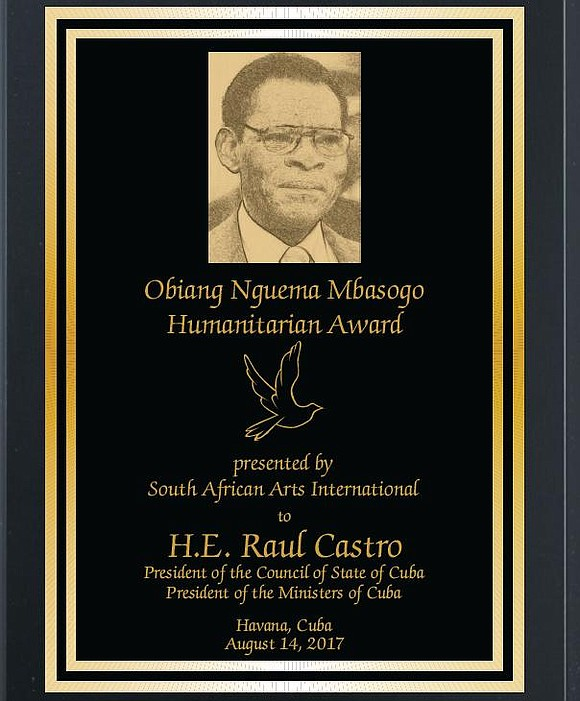 South African Arts International, Ltd, founded in 1994, is proud to announce that the inaugural Obiang Nguema Mbasogo Humanitarian Award ...
