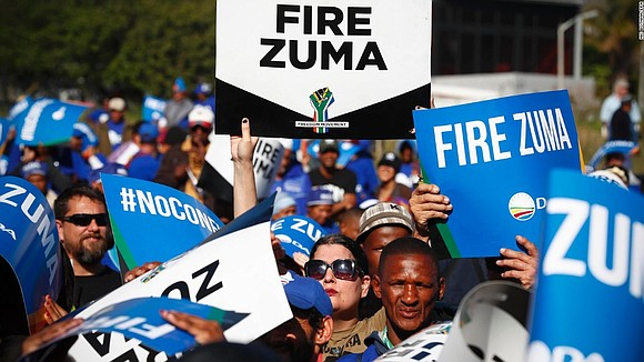 Members of South Africa's parliament were voting on a motion of no-confidence in the country's president, Jacob Zuma, Tuesday, testing ...