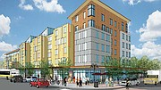 An early rendering shows the building that will house rental apartments and a grocery store.