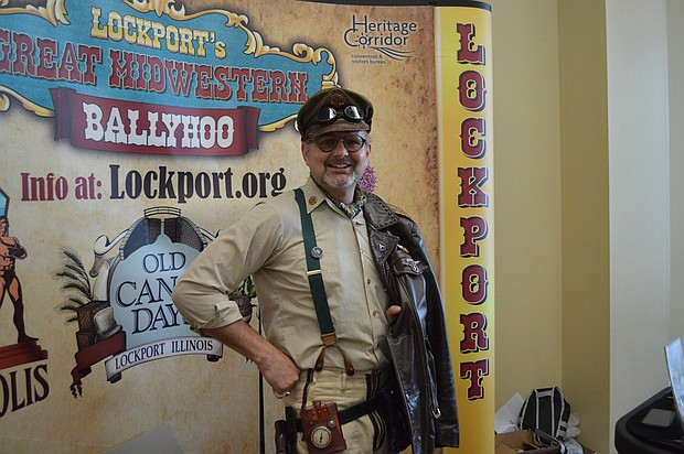 Lockport Mayor Steve Streit is decked out in his best steam punk threads for Comicopolis in Lockport.
