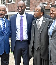 he special visitors to Dunbar Elementary School on Monday included (l-r) former Mayor A C Wharton Jr.. Shelby County Schools Supt. Dorsey Hopson and Bishop Henry M. Williamson Sr., presiding Bishop of the First Episcopal District of the Christian Methodist Episcopal Church).   (Photos: Lee R. Watkins)