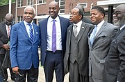 he special visitors to Dunbar Elementary School on Monday included (l-r) former Mayor A C Wharton Jr.. Shelby County Schools Supt. Dorsey Hopson and Bishop Henry M. Williamson Sr., presiding Bishop of the First Episcopal District of the Christian Methodist Episcopal Church). 