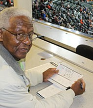 """Harold """"Hank"""" Allen in the Baltimore Orioles press box, where he continues to work as a scout for the Houston  Astros."""