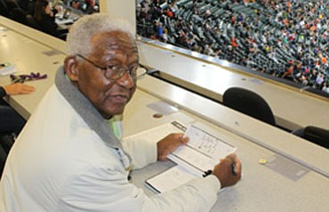 "Harold ""Hank"" Allen in the Baltimore Orioles press box, where he continues to work as a scout for the Houston 
